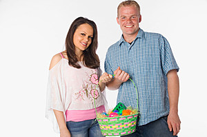 Couple holding Easter basket