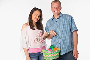 Couple holding Easter basket